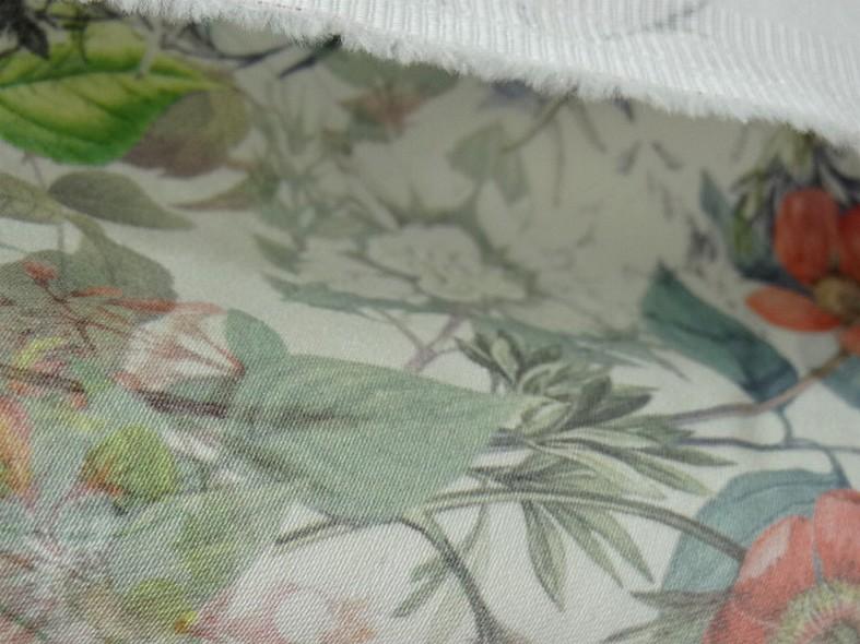 Bengaline coton fond blanc fleurs champetre 3