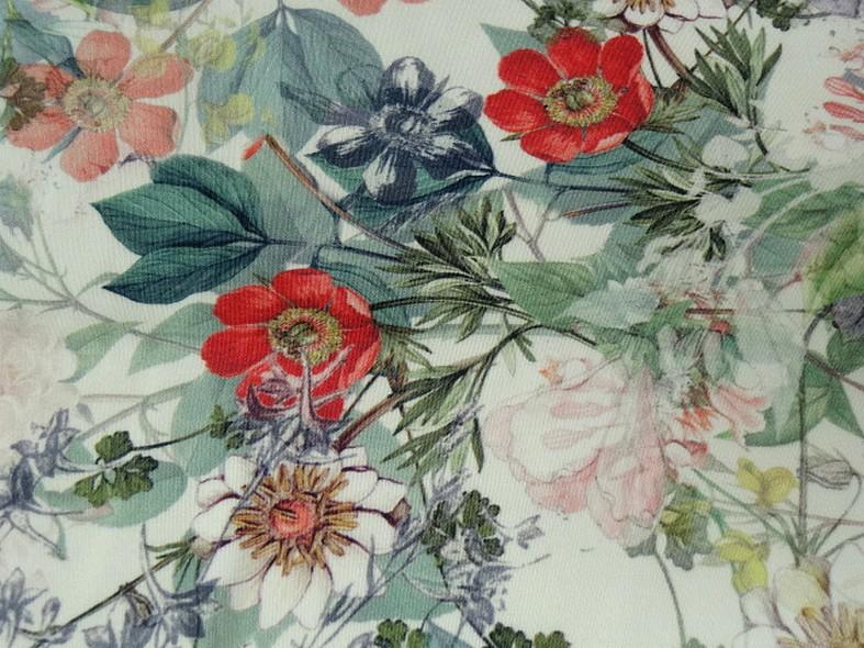 Bengaline coton fond blanc fleurs champetre 4
