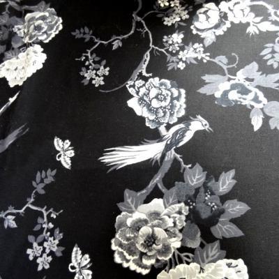 Bengaline coton lycra noire oiseaux et cerisiers en fleurs
