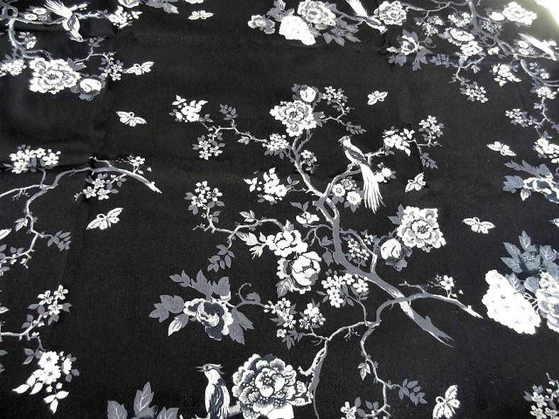 Bengaline coton lycra noire oiseaux et cerisiers en fleurs 1