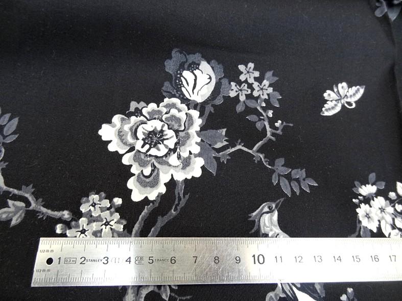 Bengaline coton lycra noire oiseaux et cerisiers en fleurs 2