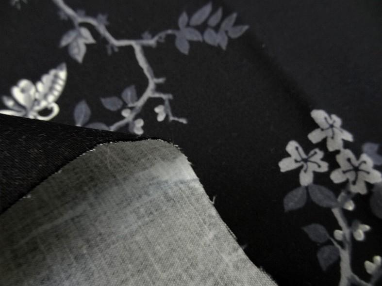 Bengaline coton lycra noire oiseaux et cerisiers en fleurs 3