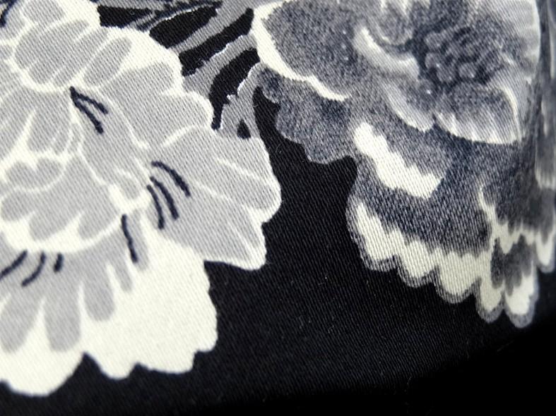 Bengaline coton lycra noire oiseaux et cerisiers en fleurs 4