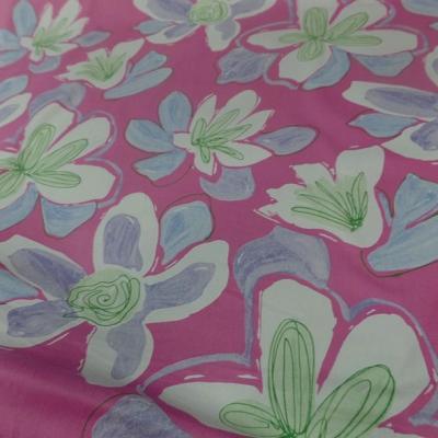 Bengaline coton rose larges fleurs 2