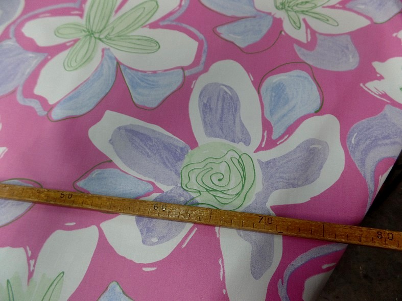 Bengaline coton rose larges fleurs 3