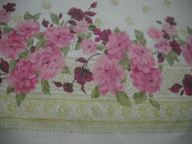 Bengaline lycra blanche embase fleurie rose 3