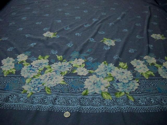 Bengaline lycra bleu jean embase fleurie blanc bleu sarcelle 2