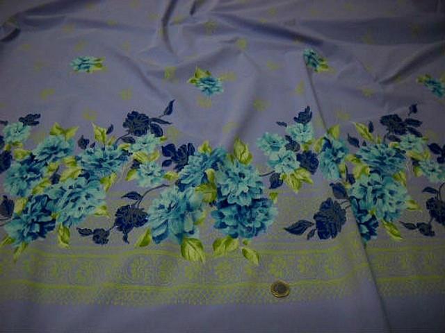 Bengaline lycra mauve clair embase fleurie bleu sarcelle et klein 2