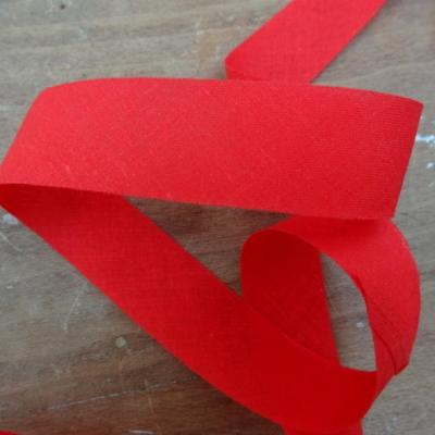 Biais coton rouge vermillon a plat 22 mm