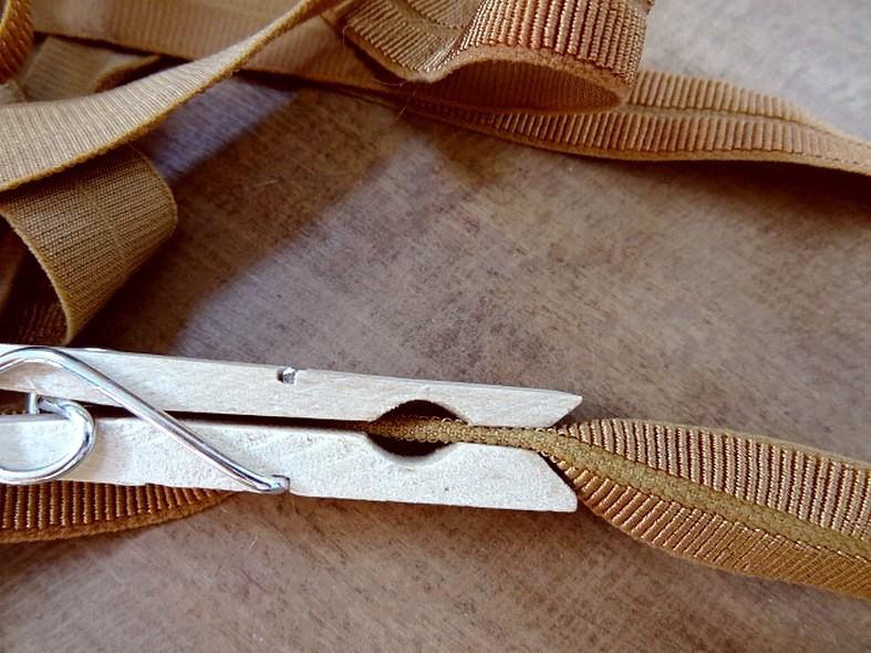 Biais gros grain pre plie elastique ocre tanne 3