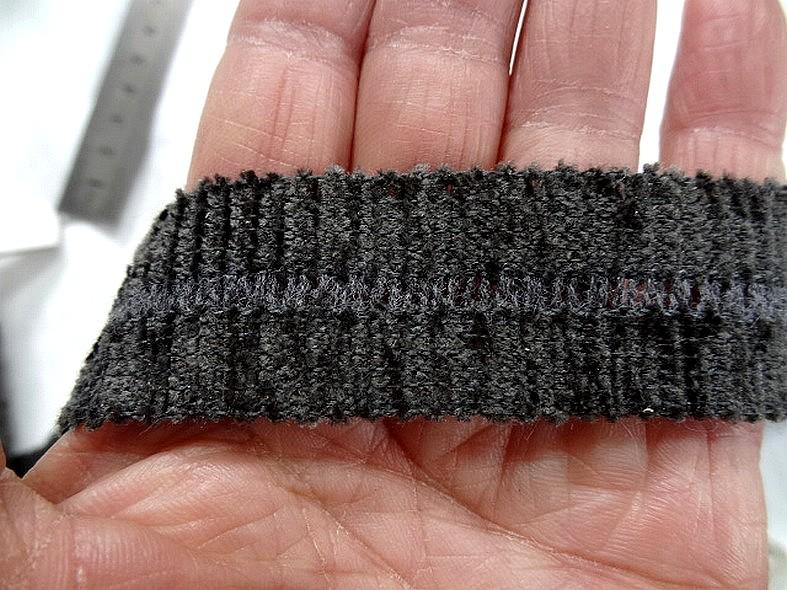 Biais velours chenille gris 2