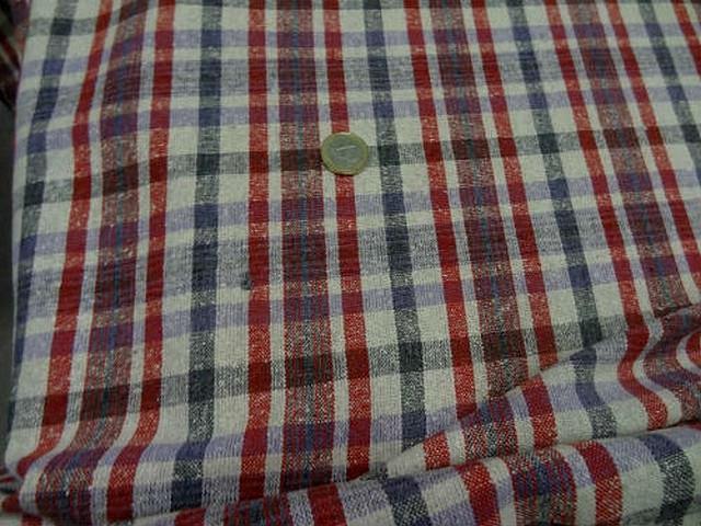 Bourrette de soie a carreaux rose rouge vermillon bleu de prusse 1
