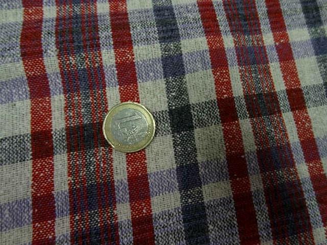 Bourrette de soie a carreaux rose rouge vermillon bleu de prusse 3