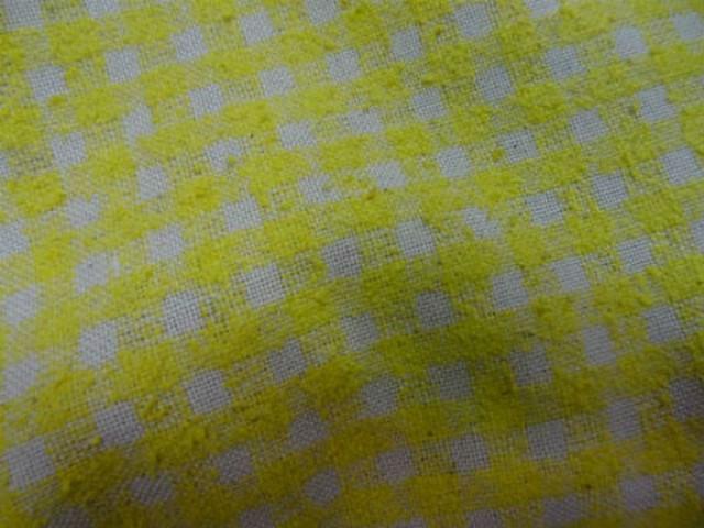 Bourrette de soie vichy jaune blanc casse 1