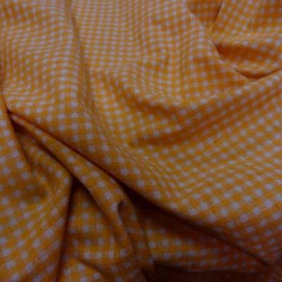 Bourrette de soie vichy orange blanc 1