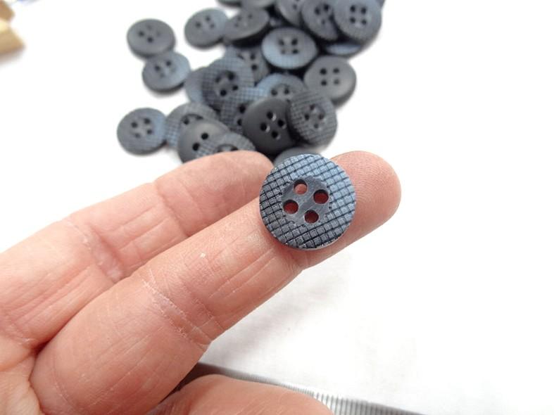 Bouton bord plat mosaique marbre noir gris 15 mm 2