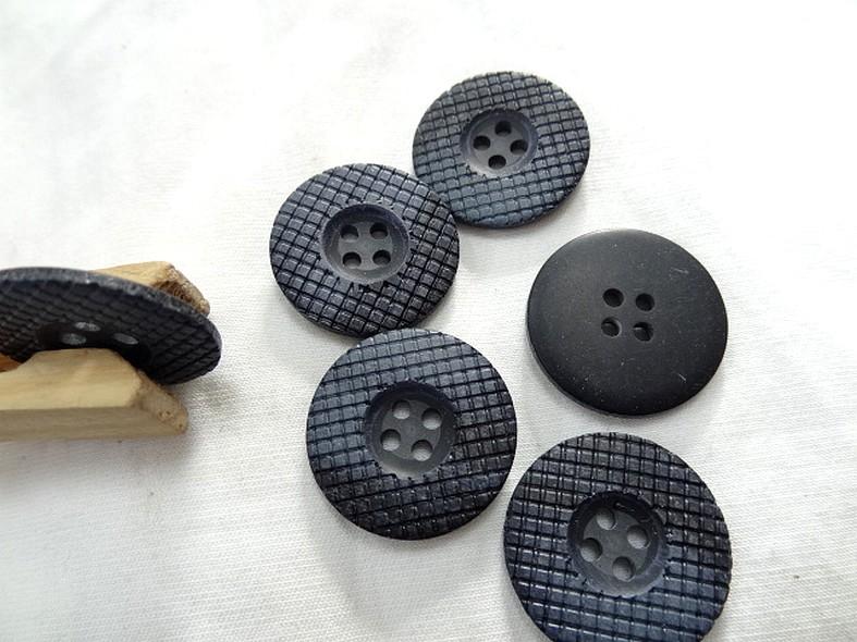 Bouton bord plat mosaique marbre noir gris 24 mm 1