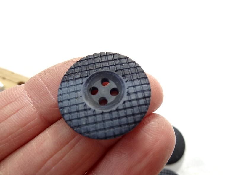 Bouton bord plat mosaique marbre noir gris 24 mm 4