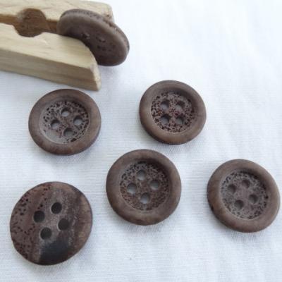 Bouton corozo bord bourrelet bistre granite 15 mm 1