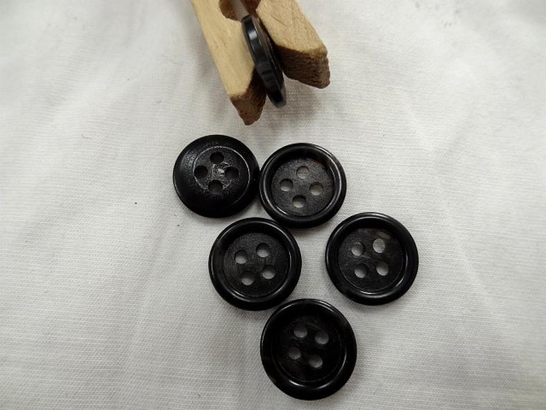 Bouton noir bordure bourrelet 15 mm 1