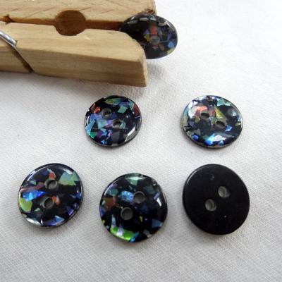 Bouton noir paillete multicolore plastifie 12 mm