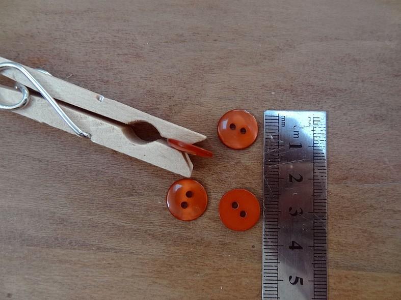 Bouton pastille corail nacre 12 mm