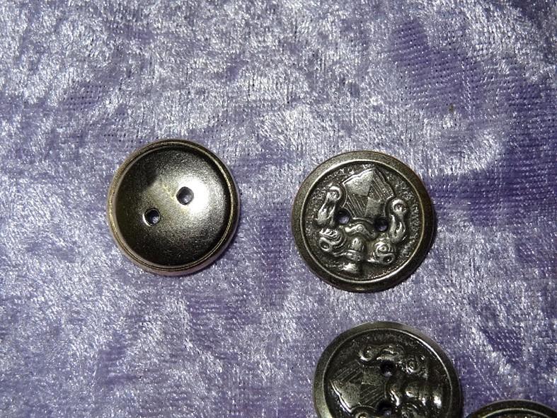 Bouton vieil argent armoiries 22 mm 3