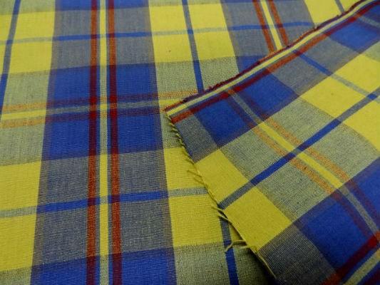 Coton ameublement carreaux jaune bleu2 1