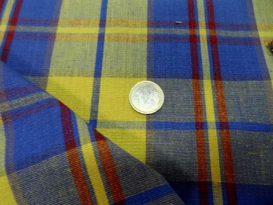 Coton ameublement carreaux jaune bleu2 2