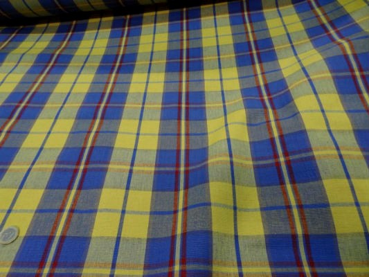 Coton ameublement carreaux jaune bleu2 3