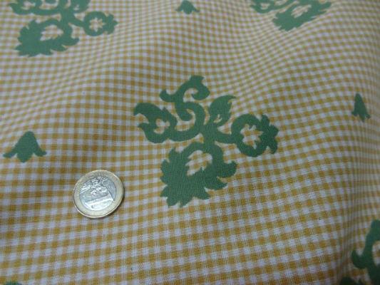 Coton ameublement reversible vichy jaune blanc motifs vert8 1