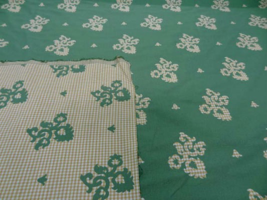 Coton ameublement reversible vichy jaune blanc motifs vert8 2