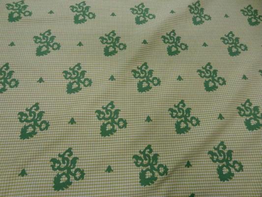 Coton ameublement reversible vichy jaune blanc motifs vert8 3