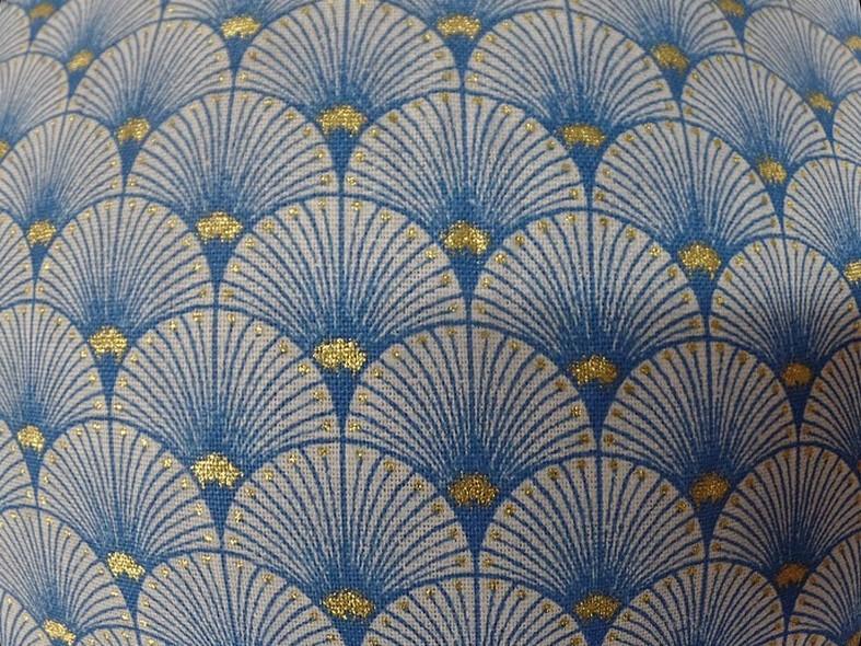 Coton blanc bleu or art deco japonais 2