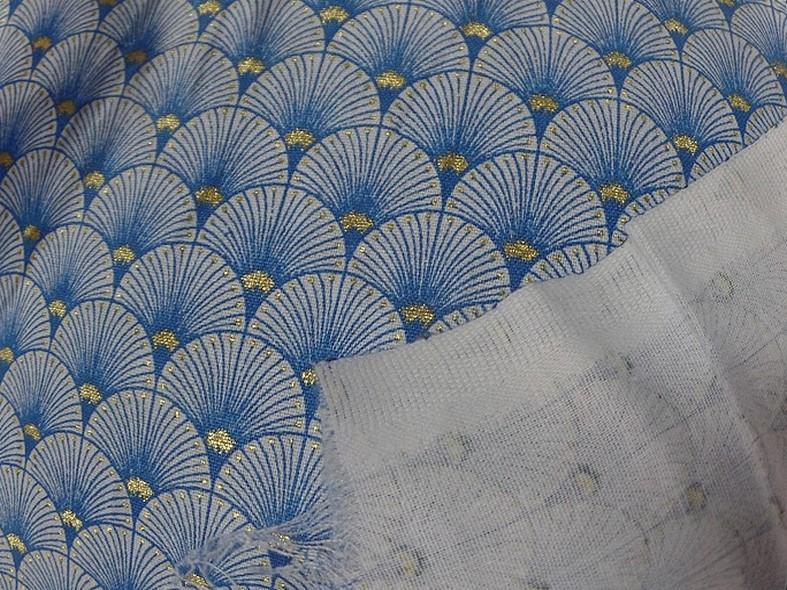 Coton blanc bleu or art deco japonais 3