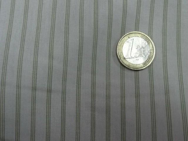 Coton blanc casse fines rayures kaki clair 6