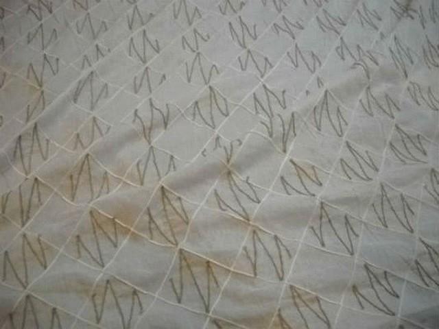 Coton blanc coutures motif carreaux et zigzag lin 4