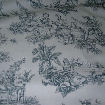 Coton blanc imprime toile de jouy ardoise 1