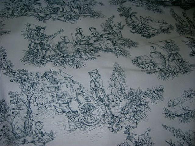Coton blanc imprime toile de jouy ardoise 3