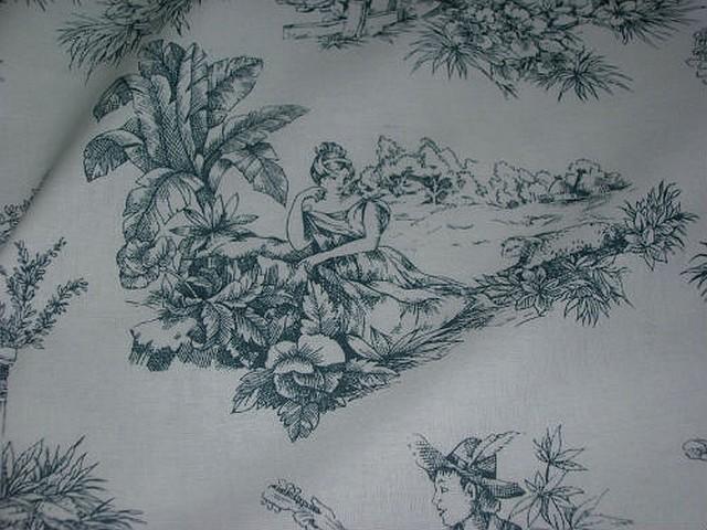 Coton blanc imprime toile de jouy ardoise 4