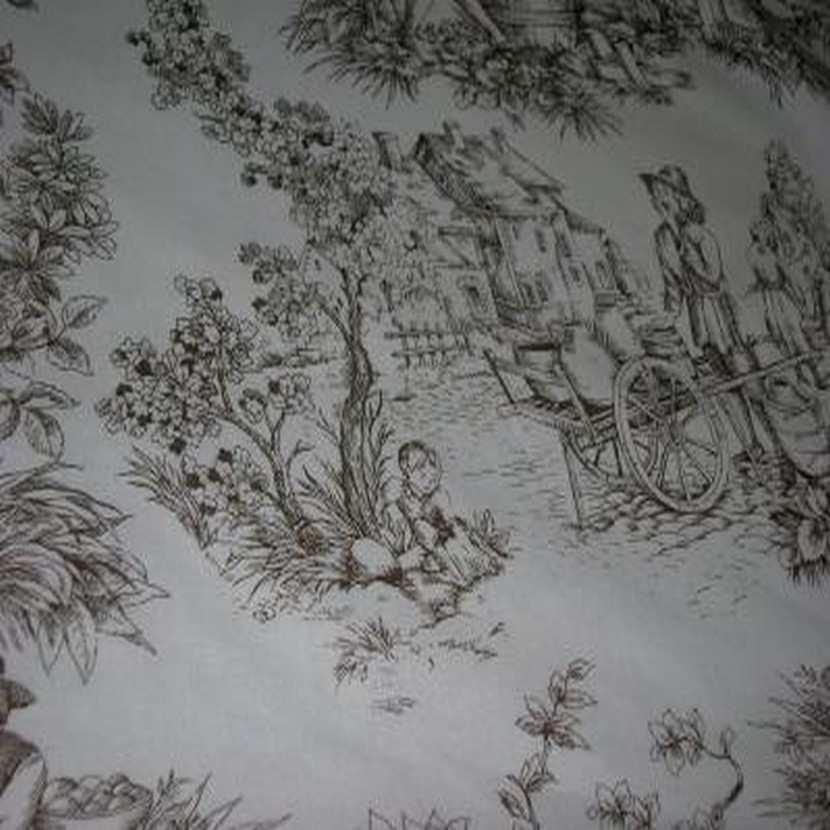 Coton blanc imprime toile de jouy marron