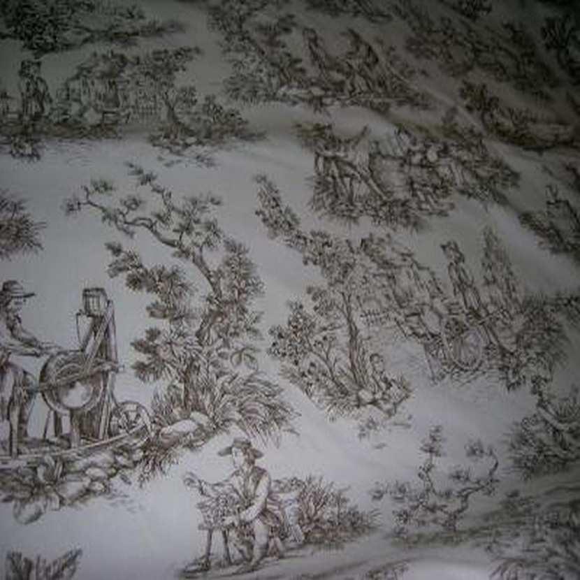 Coton blanc imprime toile de jouy marron2