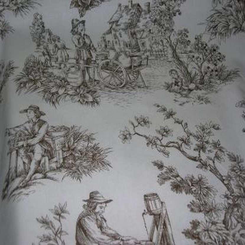 Coton blanc imprime toile de jouy marron3