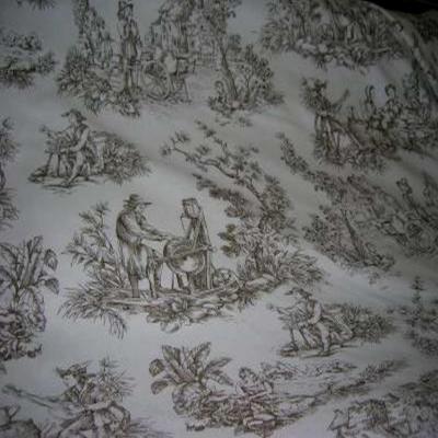 Coton blanc imprime toile de jouy marron6