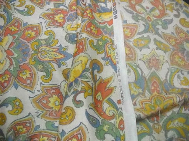 Coton blanc motif fleur exotique stylisee 3