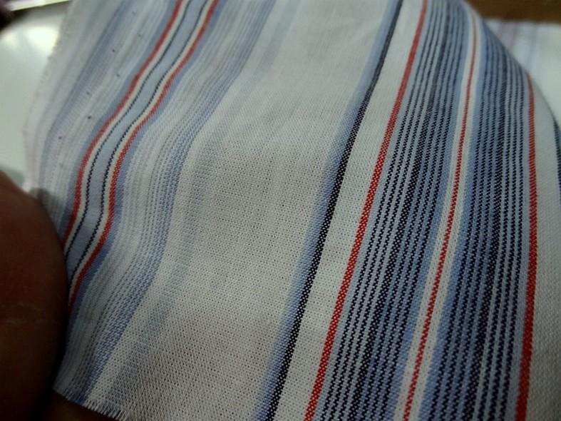 Coton blanc raye bleu et rouge marin 2 1