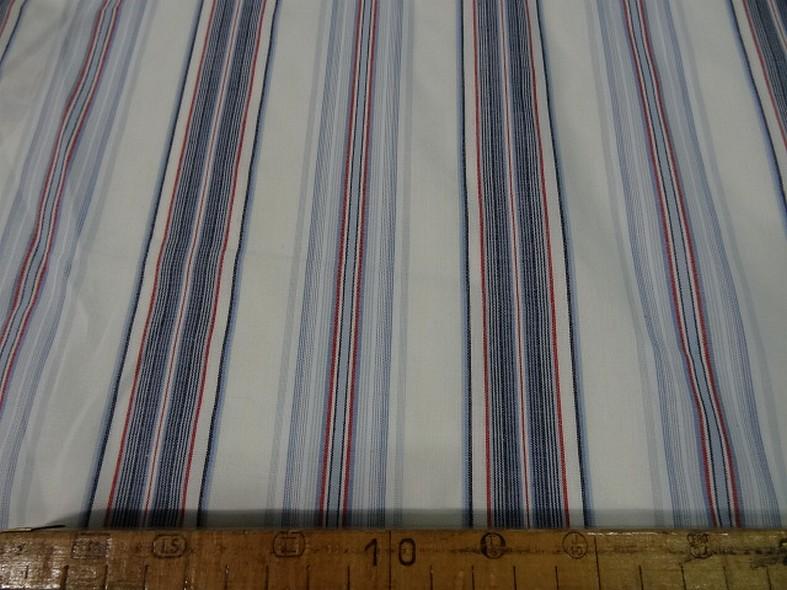 Coton blanc raye bleu et rouge marin 2