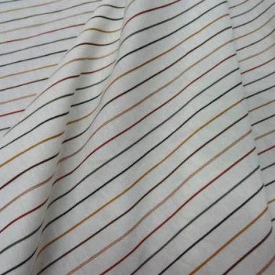 Coton blanc rayures craie multicolore 1