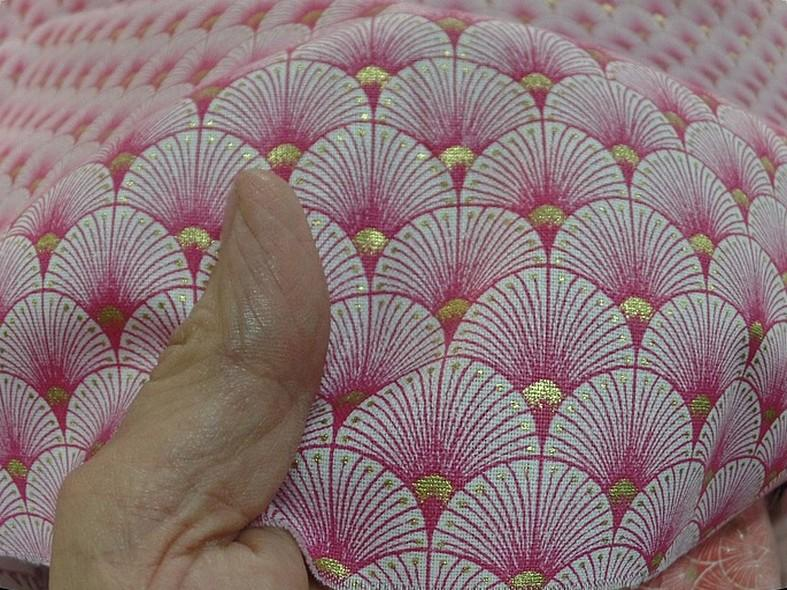Coton blanc rose or art deco japonais 3