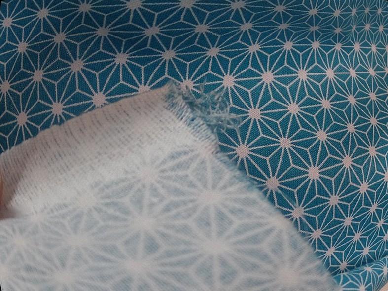 Coton bleu blanc motif etoiles origami 5